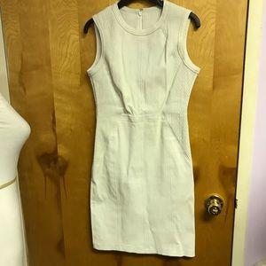 Yigal Azrouel white leather sheath dress sz 10